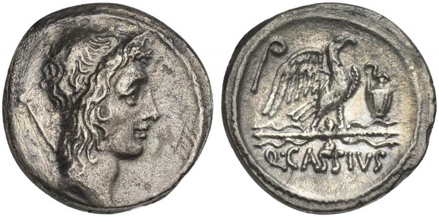 Ancient Coins - ROME REPUBLIC Q. Cassius Longinus, AR Denarius, Rome, 55 BC.  Head of Bonus Eventus (or Genius Populi Romani?)  R/ Eagle