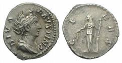 Ancient Coins - Diva Faustina Senior (died 140/1). AR Denarius. Rome, c. 146/7-161.  R/ Ceres