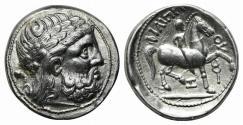 Ancient Coins - Celtic, Eastern Europe, imitating Philip II of Macedon, c. 3rd century BC. AR Tetradrachm.  R/ Youth on horseback