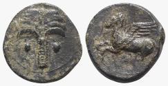 Ancient Coins - Sicily, Carthaginian Domain, c. 330-320 BC. Æ 14mm. Palm tree. R/ Pegasos