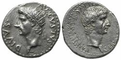 Ancient Coins - Germanicus with Divus Augustus (died AD 19 and AD 14, respectively). Cappadocia, Caesarea-Eusebia. AR Drachm