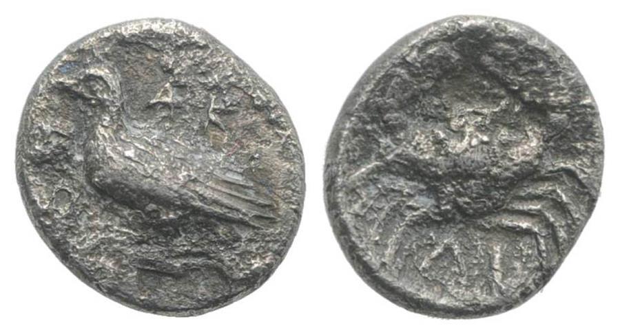 Ancient Coins - Sicily, Akragas, c. 450-440 BC. AR Litra