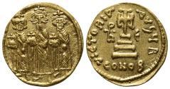 Ancient Coins - Heraclius, with Heraclius Constantine and Heraclonas (610-641). AV Solidus. Constantinople, 637/8.