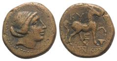 Ancient Coins - Aeolis, Kyme, c. 250-200 BC. Æ 20mm.  Laonikos, magistrate. Head of the Amazon Kyme r. R/ Horse