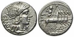 Ancient Coins - ROME REPUBLIC L. Antestius Gragulus, Rome, 136 BC. AR Denarius. R/ Jupiter driving quadriga EXTREMELY FINE