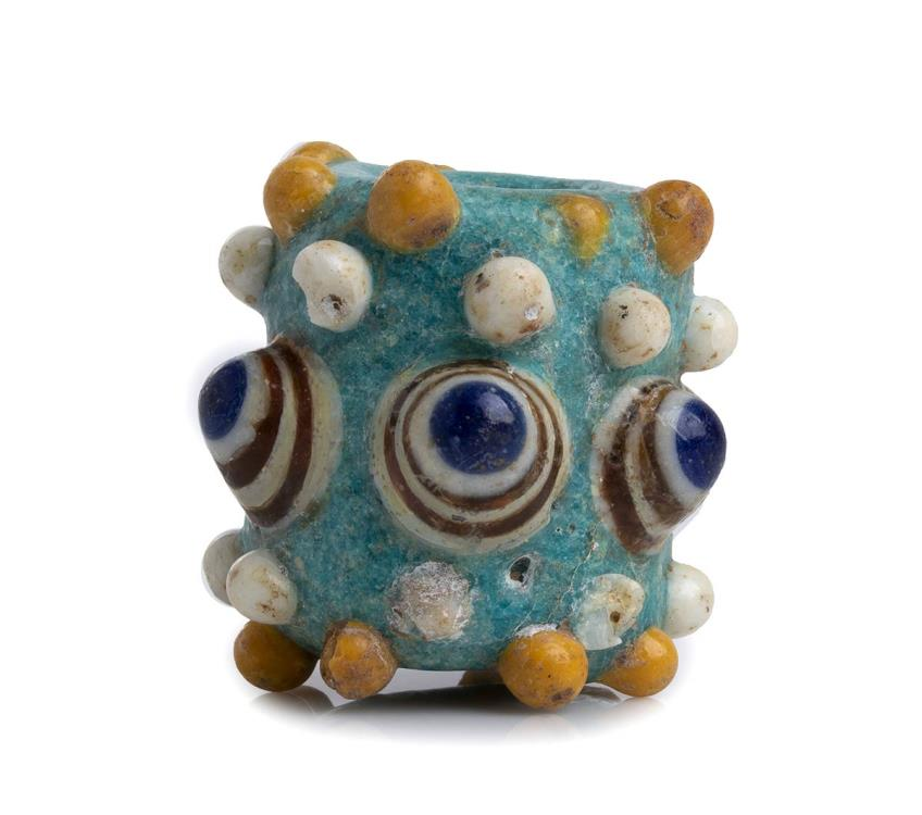 Ancient Coins - Carthaginian polychrome glass Stratified Eye Bead, 4th - 3rd century BC; height cm 3,2; Amazing crackle patina.