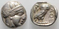 Ancient Coins - Attica, Athens, c. 454-404 BC. AR Tetradrachm. R/ OWL