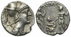 Ancient Coins - ROME REPUBLIC Ti. Veturius, Rome, 137 BC. AR Denarius. R/ Oath-taking scene: youth kneeling l, between two soldiers EXTREMELY FINE