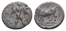 Ancient Coins - ITALY. Southern Lucania, Sybaris, c. 446-440 BC. AR Triobol. Poseidon. R/ Bull RARE