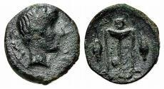 Ancient Coins - Sicily, Leontini, c. 405-402 BC. Æ Tetras – Trionkion