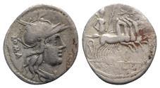 Ancient Coins - ROME REPUBLIC M. Tullius, Rome, 119 BC. AR Denarius. R/ Victory driving galloping quadriga