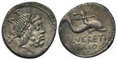 Ancient Coins - L. Lucretius Trio, Rome, 74 BC. AR Denarius