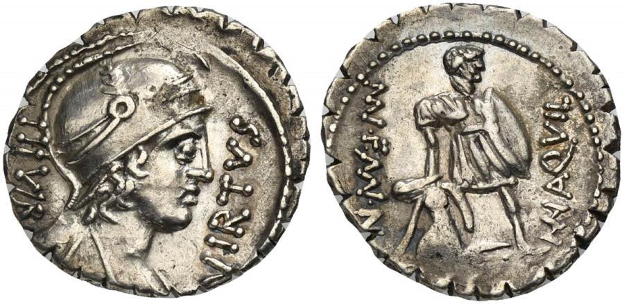 Ancient Coins - ROME REPUBLIC Mn. Aquillius Mn. f. Mn. n., AR Serrate Denarius, Rome, 71 BC.   The consul Manius Aquillius standing facing, holding shield and raising slumped Sicilian by the arm
