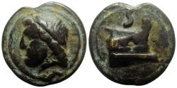 Ancient Coins - Anonymous, Rome, c. 225-217 BC. Cast Æ Semis