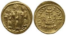 Ancient Coins - Heraclius, with Heraclius Constantine and Heraclonas (610-641). GOLD Solidus. Constantinople, 638-641.