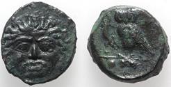 Ancient Coins - Sicily, Kamarina, c. 420-405 BC. Æ Tetras