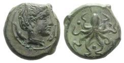 Ancient Coins - Sicily, Syracuse, c. 435-415 BC. Æ Tetras. NICE !!