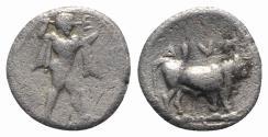 Ancient Coins - ITALY. Southern Lucania, Sybaris, c. 446-440 BC. AR Triobol. Poseidon R/ Bull