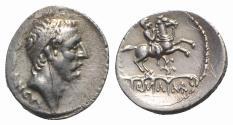 Ancient Coins - ROME REPUBLIC L. Marcius Philippus, Rome, 57 BC. AR Denarius. Diademed head of Ancus Marcius. R/ Equestrian statue
