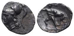 Ancient Coins - ITALY. Southern Apulia, Tarentum, c. 280-228 BC. AR Diobol. R/ Herakles strangling the Nemean lion