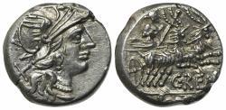 Ancient Coins - ROME REPUBLIC SC. Renius, Rome, 138 BC. AR Denarius. R/ Juno Caprotina driving biga of goats EXTREMELY FINE