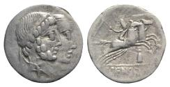 Ancient Coins - ROME REPUBLIC C. Censorinus, Rome, 88 BC. AR Denarius. Jugate heads of Numa Pompilius and Ancus Marcius R/ Desultor riding one of two horses galloping
