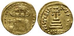 Ancient Coins - Constans (641-668) AV Solidus. Constantinople, AD 652-54.