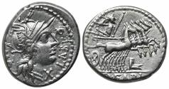 Ancient Coins - ROME REPUBLIC Q. Fabius Labeo, Rome, 124 BC. AR Denarius. R/ Jupiter driving galloping quadriga
