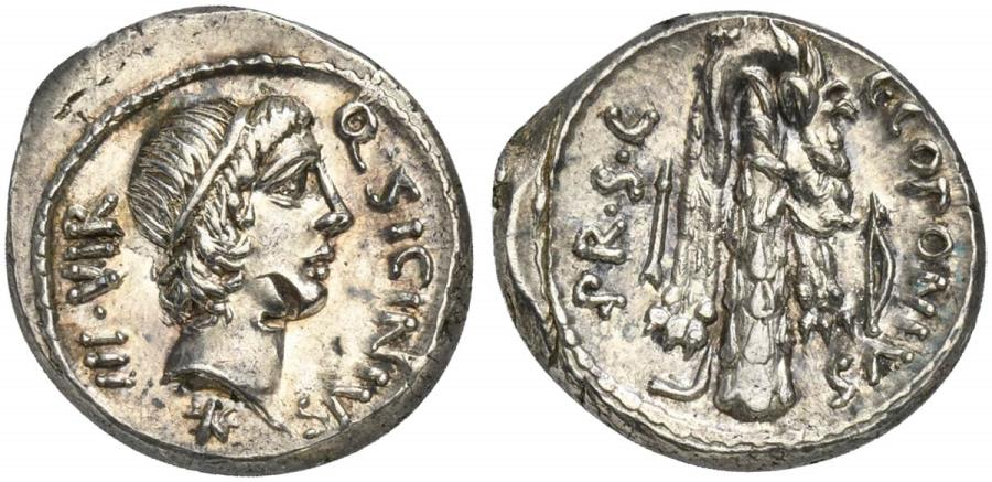 Ancient Coins - ROME REPUBLIC Q. Sicinius and C. Coponius, AR Denarius, military mint in the East, moving with Pompey; C. Coponius, praetor, 49 BC.
