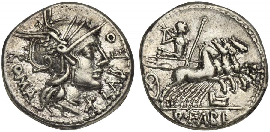 Ancient Coins - ROME REPUBLIC Q. Fabius Labeo, AR Denarius, Rome, 124 BC.  R/  Jupiter driving galloping quadriga