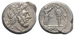 Ancient Coins - ROME REPUBLIC Anonymous, Rome, after 211 BC. AR Victoriatus. R/ Victory crowning trophy.