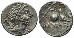 Ancient Coins - Cn. Lentulus, Spanish(?) mint, 76-75 BC. AR Denarius