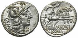 Ancient Coins - ROME REPUBLIC M. Aburius M.f. Geminus, Rome, 132 BC. AR Denarius. R/ Sol driving quadriga EXCEPTIONAL FDC