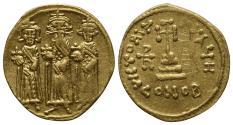 Ancient Coins - Heraclius (610-641).  GOLD  Solidus. Constantinople, 638/9-641.