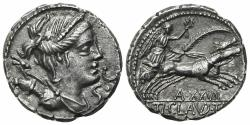 Ancient Coins - Ti. Claudius Ti.f. Ap.n. Nero, Rome, 79 BC. AR Serrate Denarius