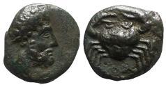 Ancient Coins - Sicily, Motya, c. 400-397 BC. Æ 11mm. R/ Crab