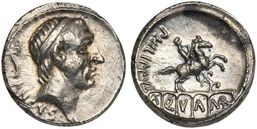 Ancient Coins - ROME REPUBLIC L. Marcius Philippus, AR Denarius, Rome, 57 BC.  R/ Equestrian statue EXTREMELY FINE