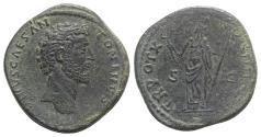 Ancient Coins - Marcus Aurelius (Caesar, 139-161). Æ Sestertius. Rome, 157-8.  R/ Felicitas