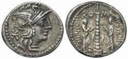 Ancient Coins - Rome Republic Ti. Minucius C.f. Augurinus, Rome, 134 BC. AR Denarius. R/ Ionic column surmounted by statue
