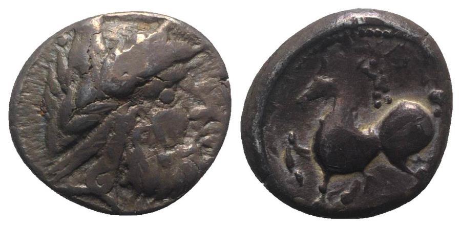 Ancient Coins - Celtic, Eastern Europe, 2nd century BC. AR Tetradrachm. Imitating Philip II of Macedon. R/ Rider on horseback