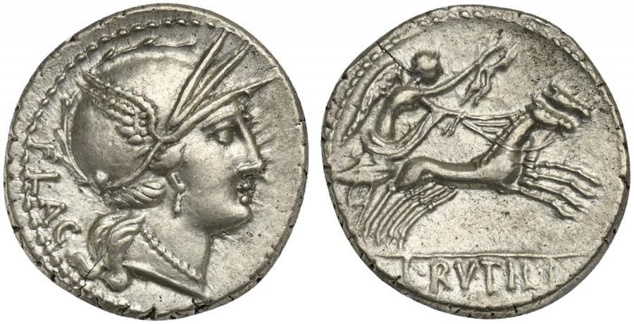 Ancient Coins - ROME REPUBLIC L. Rutilius Flaccus, AR Denarius, Rome, 77 BC.  R/ Victory driving galloping biga