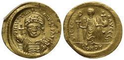Ancient Coins - Justinian I (527-565). GOLD Solidus. Constantinople, 545-565. R/ Angel