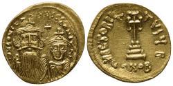 Ancient Coins - Constans II (641-668). AV Solidus. Constantinople, 654-659.