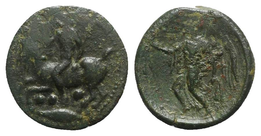 Ancient Coins - Sicily, Himera, c. 425-409 BC. Æ Tetras. Nude rider on a goat. R/ Nike