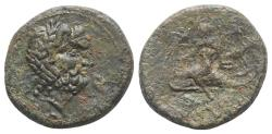 Ancient Coins - ITALY. Southern Apulia, Brundisium, c. 2nd century BC. Æ Semis R/ Phalanthos astride dolphin