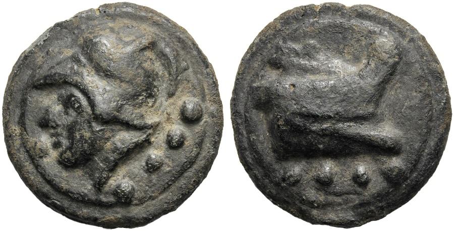 Ancient Coins - Anonymous, Cast Triens, Rome, 225-217 BC