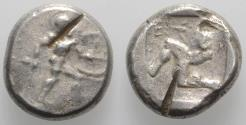 Ancient Coins - Pamphylia, Aspendos, c. 465-430 BC. AR Stater. Warrior. R/ Triskeles