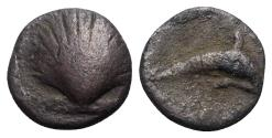 Ancient Coins - ITALY. Southern Apulia, Tarentum, c. 325-280 BC. AR Litra. Shell. / Dolphin