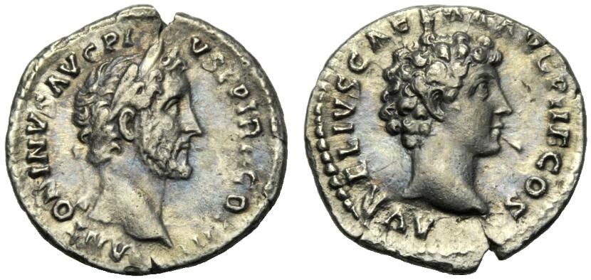 Ancient Coins - Antoninus Pius and Marcus Aurelius (139-161), Denarius, Rome, AD 140