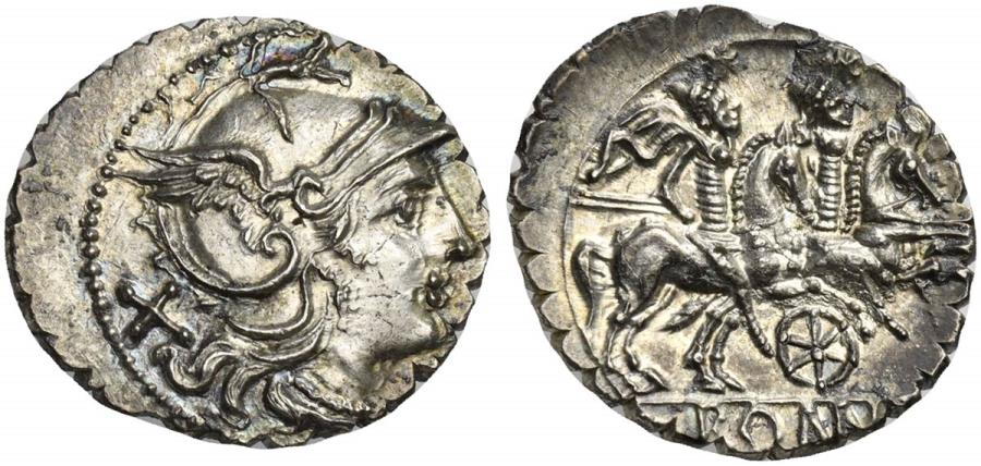 Ancient Coins - ROME REPUBLIC Wheel series, AR Denarius, Sicily (?), 209-208 BC.  R/ The Dioscuri, wheel below